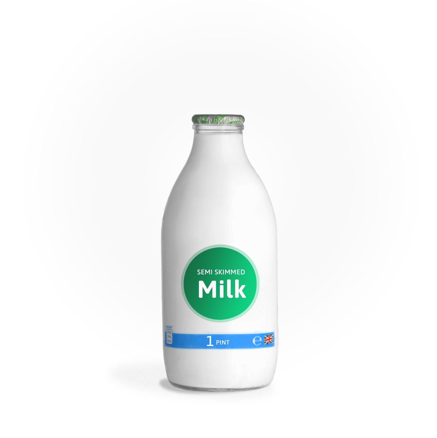office milk glass-1pint-semi-skimmed